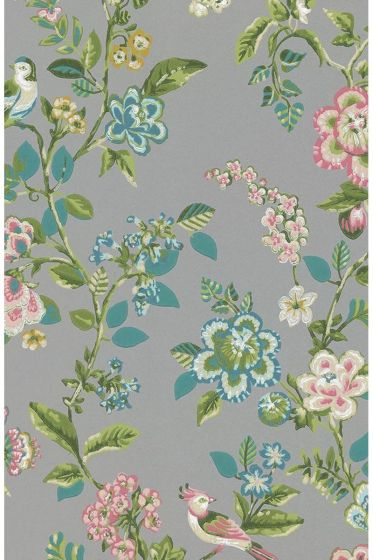 wallpaper-non-woven-vinyl-flowers-bird-grey-pip-studio-botanical-print