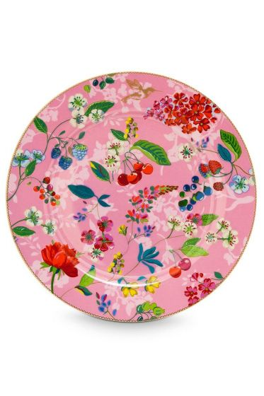 Floral onderbord Hummingbirds 32 cm Roze