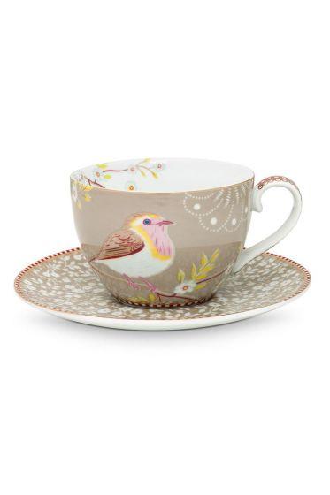 Floral Cappuccino Cup & Saucer Early Bird Khaki