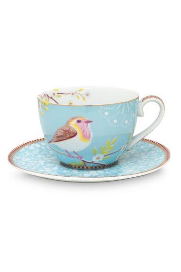 Paire tasse à thé Floral Oiseau Bleu