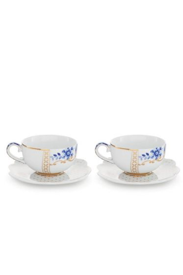 Royal White Set/2 Espresso Cups & Saucers