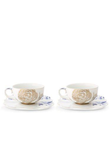 Royal White Geschenkset 2 Teetassen & Untertassen Blumen
