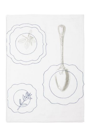 Tea towel Royal spoon white