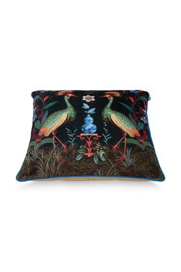 Cushion-botanical-dark-blue-square-flirting-birds-60x60-cm