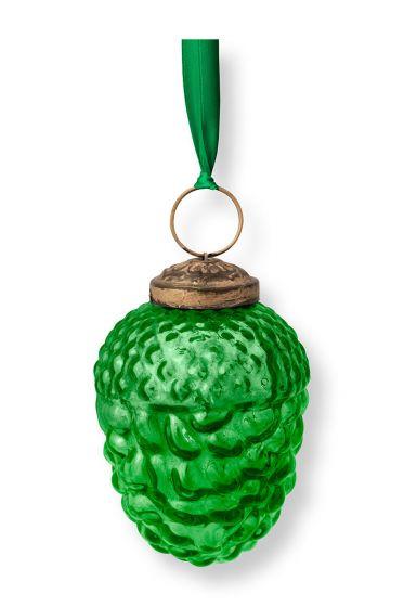 Ornament Glass Pine Cone Green 7.5cm