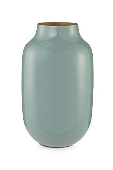 Oval Metal Vase blue 30 cm
