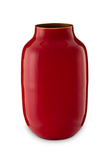 Oval Metal Vase Red 30 cm