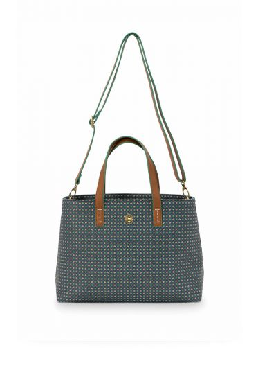 Shopper-small-dark-blue-star-tile-pip-studio-33/39x22x10-cm