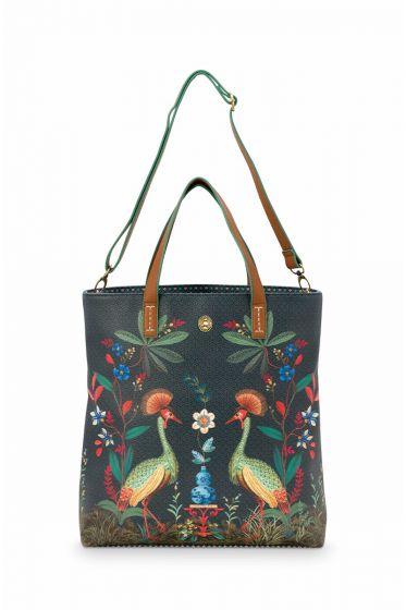 shopper-quadratisch-dunkel-blau-flirting-birds-pip-studio-33x36x10-cm