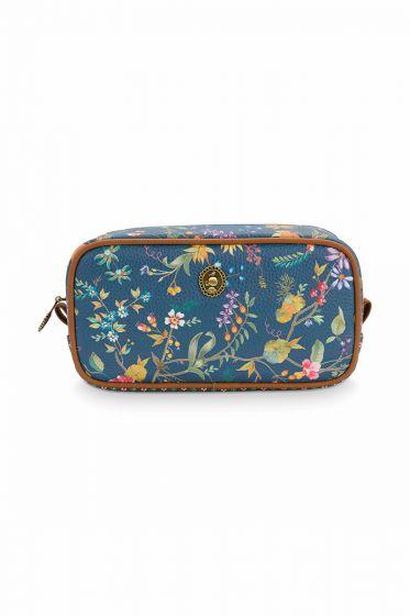 Toilet-tas-bloemen-donker-blauw-vierkant-klein-petites-fleurs-pip-studio-20x10,5x7,5-cm