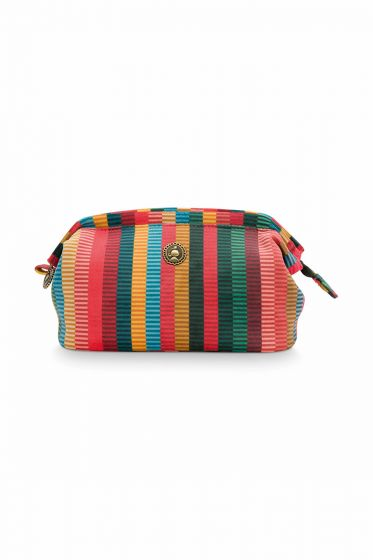 Make-up-tas-gestreept-velvet-multi-colour-klein-jacquard-stripe-pip-studio-19x12x8,5-cm