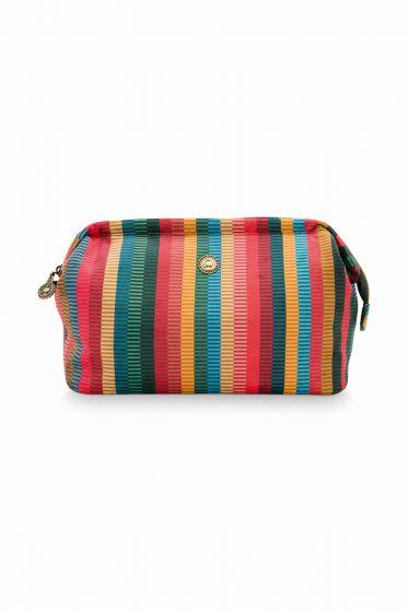 Cosmetic-bag-square-striped-velvet-multi-colour-large-jacquard-stripe-pip-studio-28x13x17-cm