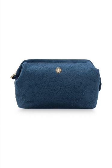 Cosmetic-purse-XL-dark-blue-quilted-pip-studio-30x20,7x13,8-cm