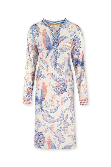 Night-dress-long-sleeve-botanical-print-off-white-royal-birds-pip-studio-xs-s-m-l-xl-xxl