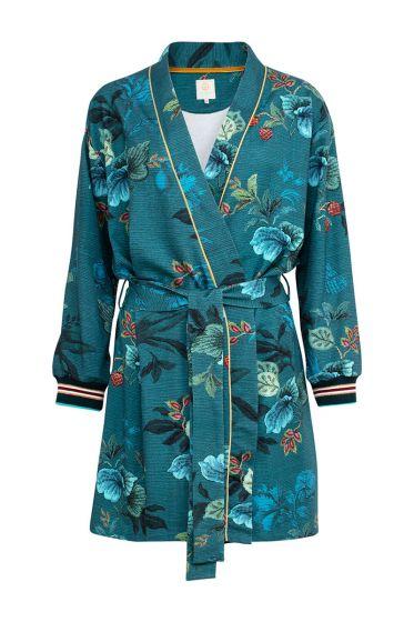 Kimono Leafy Stitch Blauw