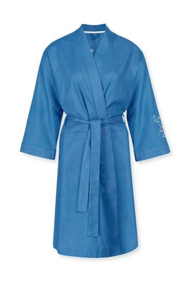Kimono Flirting Birds Embroidery Blauw Plus Size