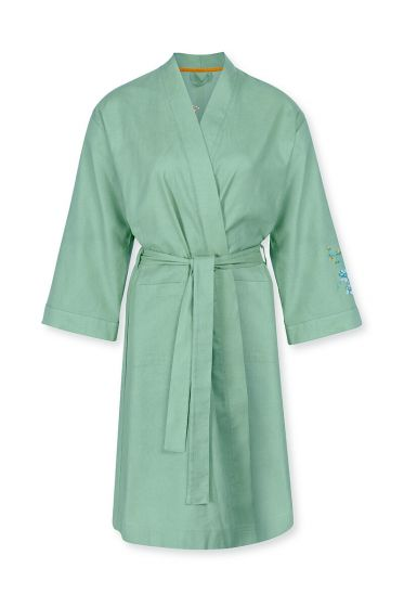 Kimono-3/4-mouw-botanische-print-groen-flirting-birds-embroidery-pip-studio-xs-s-m-l-xl-xxl