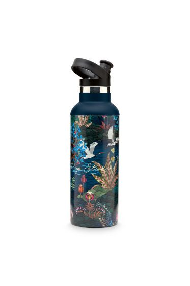 Water-fles-botanische-print-donker-blauw-pip-garden-pip-studio-600-ml