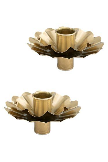 Set/2 Bottle Candle Holder Flower Gold 10cm