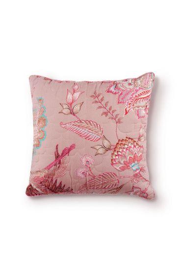 kussen-khaki-bloemen-vierkant-gewatteerd-sierkussen-royal-birds-pip-studio-45x45-katoen