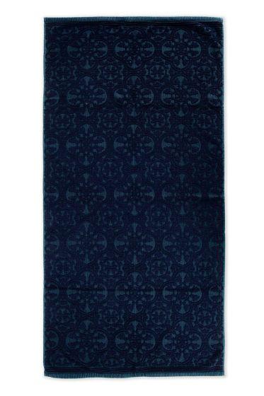 Handdoek-XL-barok-print-donker-blauw-70x140-tile-de-pip-katoen