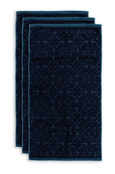 Handdoek-set/3-barok-print-donker-blauw-55x100-tile-de-pip-katoen