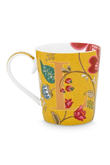 Letter-mug-yellow-blushing-birds-L-pip-studio