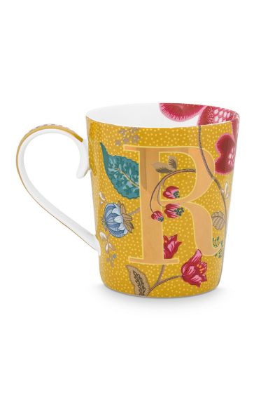Letter-mug-yellow-blushing-birds-R-pip-studio