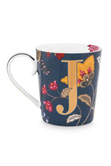 Letter-mug-blue-floral-fantasy-J-pip-studio