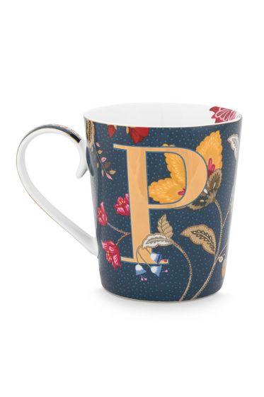 Letter-mokken-blauw-floral-fantasy-P-pip-studio