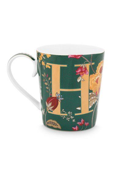Letter-mug-green-floral-fantasy-H-pip-studio