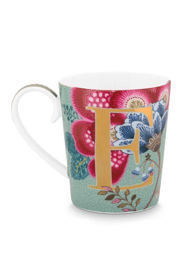 Letter-mug-light-blue-floral-fantasy-E-pip-studio