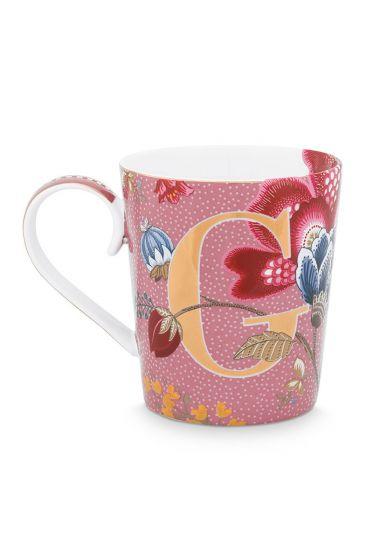 Letter-mug-pink-floral-fantasy-G-pip-studio