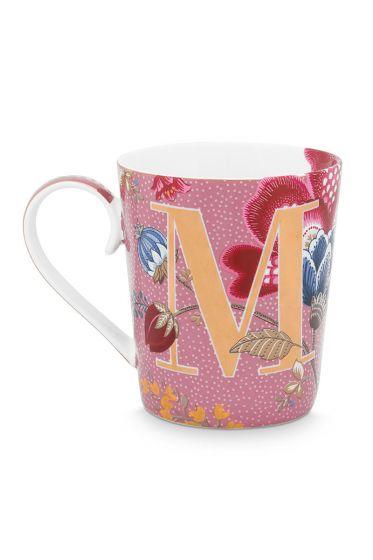 Letter-mug-pink-floral-fantasy-M-pip-studio