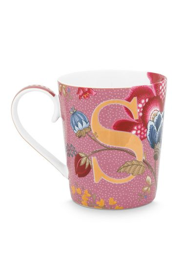 Letter-mokken-roze-floral-fantasy-S-pip-studio