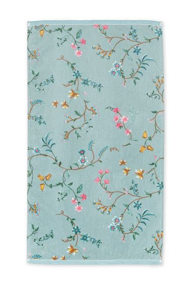 Douchelaken-bloemen-blauw-55x100-les-fleurs-pip-studio-katoen-terry-velour