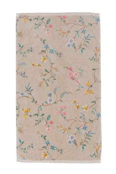 Douchelaken-handdoek-bloemen-khaki-55x100-les-fleurs-pip-studio-katoen-terry-velour