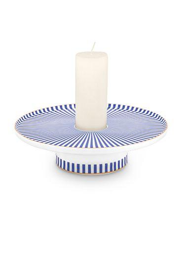 porzellan-Kerzenhalter-blau-weiss-royal-stripes-collection-pip-studio-14-cm