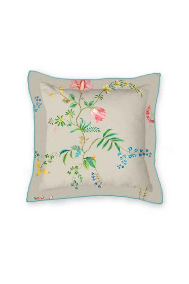 kussen-khaki-bloemen-vierkant-sierkussen-fleur-grandeur-pip-studio-45x45-katoen