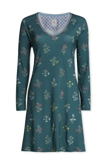 Long sleeve nightdress Winter Wonderland forest green