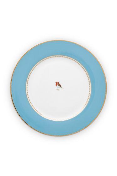 diner-bord-love-birds-in-blauw-met-vogel-26,5-cm