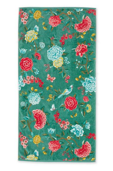 Douchelaken-handdoek-xl-bloemen-groen-70x140-good-evening-pip-studio-katoen-terry-velour