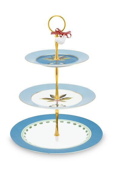 cake-stand-3-levels-la-majorelle-made-of-porcelain-with-a-pam-tree-in-blue