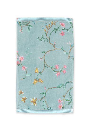 Gastendoek-blauw-bloemen-30x50-les-fleurs-pip-studio-katoen-terry-velour
