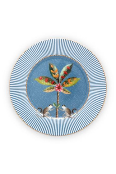 gebäckteller-la-majorelle-aus-porzellan-mit-eine-palme-in-blau-17-cm