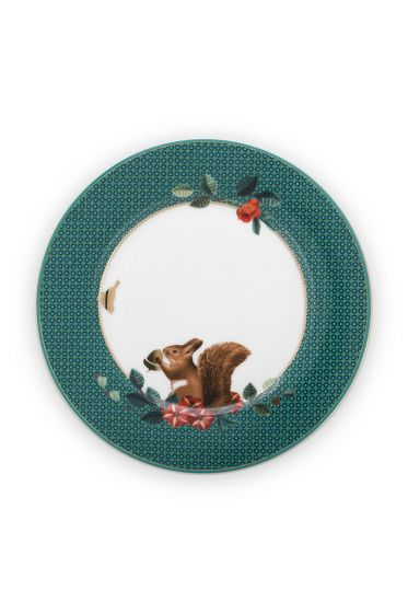 gebaksbordje-winter-wonderland-van-porselein-met-een- eekhoorn  -in-groen-17-cm