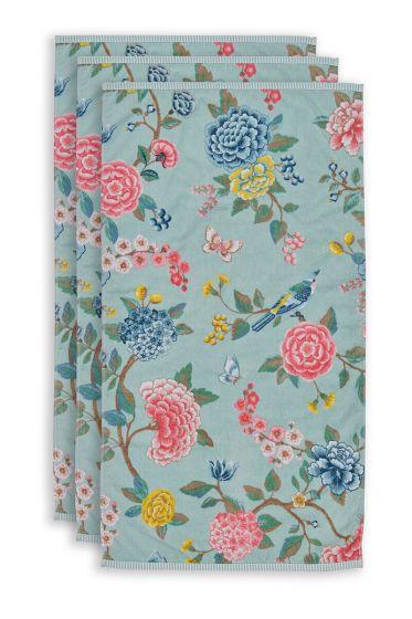 Handtuch-set/3-blumen-drucken-blau-55x100-good-evening-baumwolle
