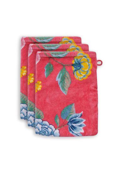 washandje-set/3-bloemen-print-koraal-16x22-cm-good-evening-katoen
