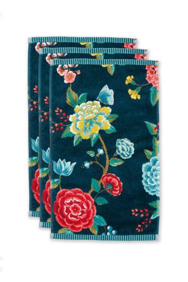 Guest-towel-set/3-floral-print-dark-blue-30x50-cm-pip-studio-good-evening-cotton