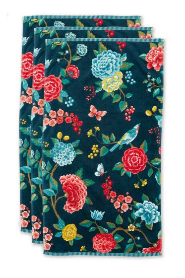 Towel-set/3-floral-print-dark-blue-55x100-pip-studio-good-evening-cotton